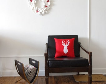 Holiday Home Decor - Red with White Reindeer Silhouette Decorative Pillow