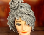 Gray Crochet Hat Womens Hat Trendy, Cloche Hat 1920s, Womens Crochet Hat, Flapper Hat, Gray Hat, LAUREN 1920s Cloche Hat Crochet Flower