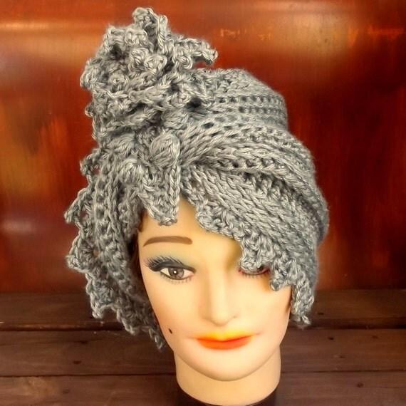 Gray Crochet Hat Womens Hat, Womens Crochet Hat, Cloche Hat, Crochet Flower, Gray Hat, LAUREN Cloche Hat with Flower, Crochet Hat