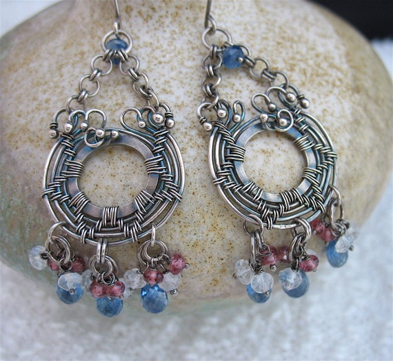 Grey Colour Earrings: Blue Red White Gray Wire Wrapped Gemstone By LoneRockJewelry