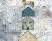 Clearance! Horse Art Print , Collage Art , Mixed Media Reproduction , Whimsical Art Print