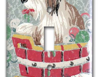 Shaggy Dog in Tub 1950's Vintage Wallpaper Switch Plate