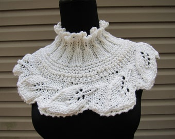 Hand knitted scarflette, neckwarmer, capelet, collar, white scarflette, scarf, wrap, stole, unique design