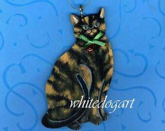 Handpainted Tortoiseshell Cat Ornament