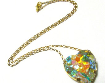 Galactic Heart - Large AB Swarovski Heart Crystal Necklace - Available in Silver or Gold, Pastel Rainbow Magic Aurora Borealis