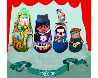 Rock On Nesting Dolls ... for girls, kids, rockers at heart ... giclée print ... you choose the paper size ... music • children • matryoshka