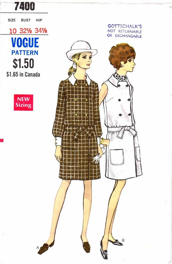1960's Womens Double Breasted Dress Shirtdress Long Sleeves Cuffs Sleeveless Vogue 7400 Misses Vintage Sewing Pattern Size 10 Bust 32 1/2