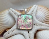 Pink Shimmer - Dichroic Fused Glass Jewelry - Pendant - Necklace - Fused Glass - Dichroic Glass - B2 P4