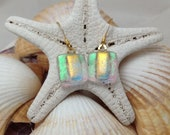 Green, Gold and a Hint of Pink - Dichroic Fused Glass Jewelry - Dangle Earrings - Dichroic Glass - Fused Glass
