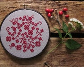diy cross-stitch pattern/kit - berries and blooms - to be framed in the 5 inch hoop