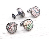 Inscribed CUSTOM Cufflinks - Antique Map Recycled Sterling Silver Handmade Cufflinks