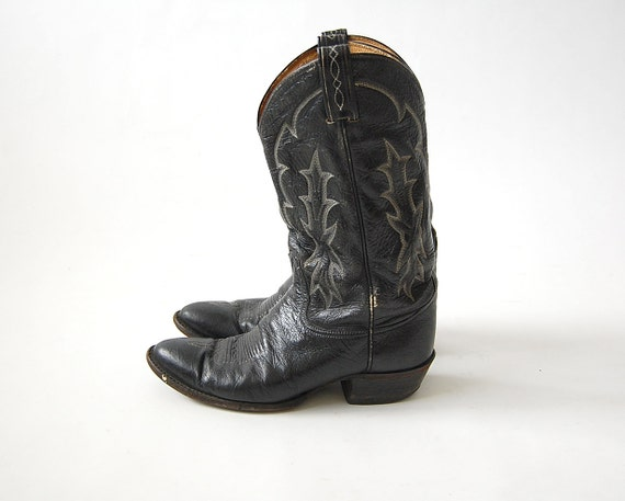 Mens Black Cowboy Boots / Tony Lama / Broken In Leather Boots / Distressed and Weathered / Topstitching / Mens sz 10 1/2 D / Womens 12