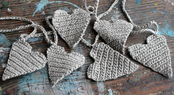 Crochet Garland - Wall Hanging - Valentine garland - Hearts garland- natural