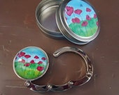 Field of Poppies Art 1.25 inch (31.75mm) Round Silver Magnetic Collapsible Purse Hook with Matching Gift Tin