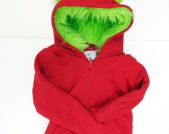 Youth Monster Hoodie - Youth Medium - Red with Lime green - horned sweatshirt, custom jacket