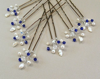 Custom Wedding Hair Accessories, Swarovski Cobalt Crystal, Handwired Bridal Hair Pins, Cobalt Wedding Hair Pins