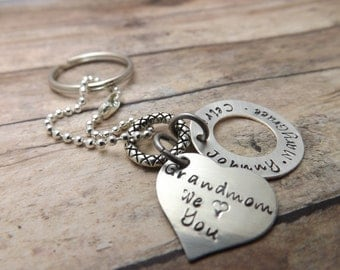 Personalized Keychain with heart and washer-sterling silver