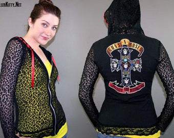 Guns N Roses Appetite For Destruction Black Leopard Lace Zipper Hoodie Axl Slash 80s Rocker Metal Use Your Illusion