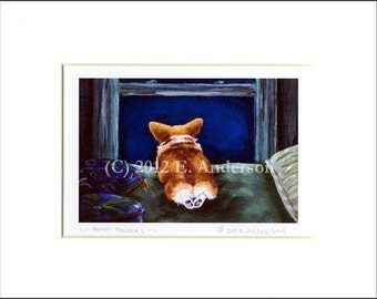 "Evie Anderson Pembroke Welsh Corgi Art SIGNED PRINT ""Puppy Ponders""  (signed, matted)"