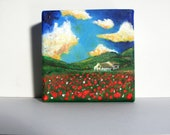 small painting: Italy, italian countryside, red poppy