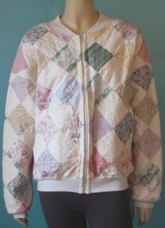 80s Pastel Quilted Coat S M L