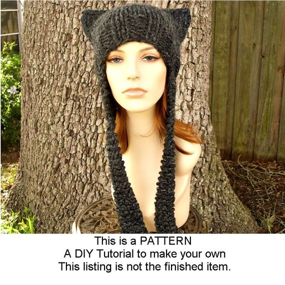 Knit Hat With Animal Ears Pattern : Instant Download Knitting Pattern Knit Hat Knitting Pattern