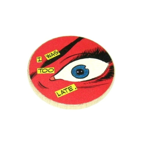 Wearable Art Collage Brooch Odd Pop Culture Pin Strange Comic Jewelry