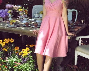 "Portrait Neckline Gather Bust""Miss Mia"" Dress with Full Circle Skirt in Almond Pink------------Many Color Options"