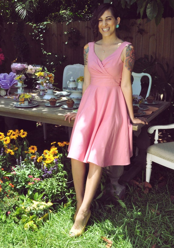 "Portrait Neckline Gather Bust""Miss Mia"" Dress with Full Circle Skirt in Almond Pink Sample Sale Clearance Size 4"