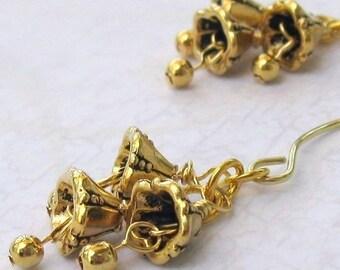 Golden Jingle Bells Earrings on Handmade Almond Earwires... Wedding Bells, Bridal, Christmas Holiday Jewelry