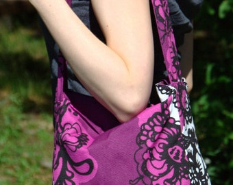 Purple shoulder bag, Vallila Mandarin-print