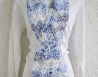 hand crochet scarf women accessories fashion scarf womens scarf lacy scarf fashion  ~ fan ~ demin blue grey white