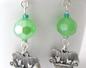 Overstuffed Chair with Pillows Earrings Green Faceted Glass Beads