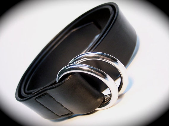 Black Bridle leather double ring belt handmade in Brooklyn