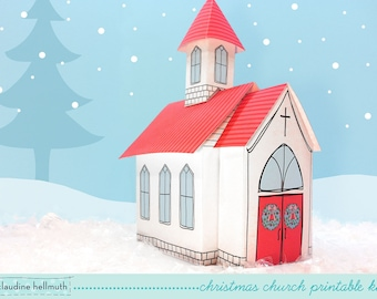 christmas church - candy gift box, party favor box, centerpiece decoration, paper printable PDF kit - INSTANT download