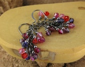 Passion Berries multicolor pink and purple gunmetal finish Swarovski Crystal cascade french hook earrings
