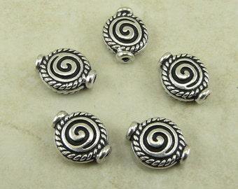 5 TierraCast Fancy Rope Celtic Spiral Beads > Tribal Swirl Flat - Silver Plated Lead Free Pewter - I ship internationally 5565