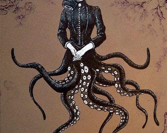"Print 8x10"" - Victoriandustrial 6 - Victorian Octopus Industrial Revolution Tentacles Steampunk Fantasy Edwardian Gothic Gas Mask"