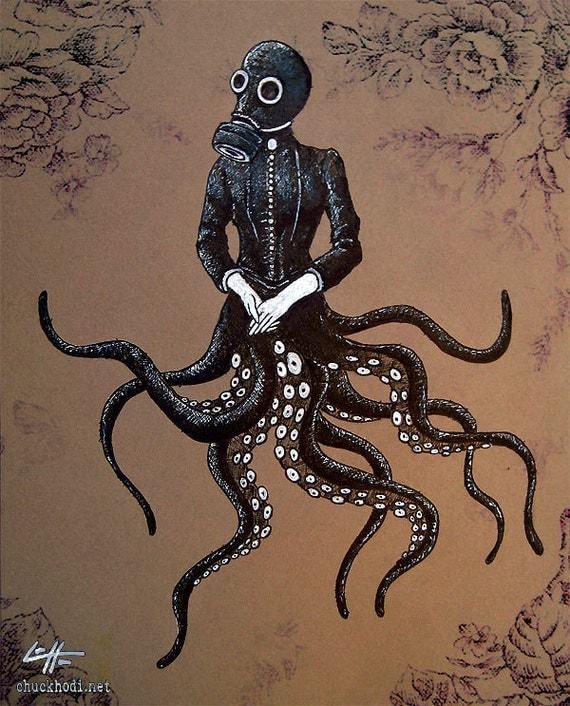 Items Similar To Print 8x10 Victoriandustrial 6 Victorian Octopus
