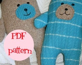 Instant Download Wooly Bear Upcycled Wool Sweater Bear Pattern Plush Pillow DIY Sewing Tutorial