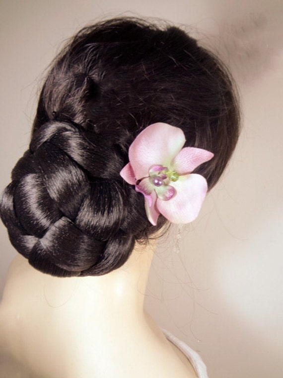 Purple and Green Orchid Flower Clip Fascinator Bridesmaid Wedding Hair Pin