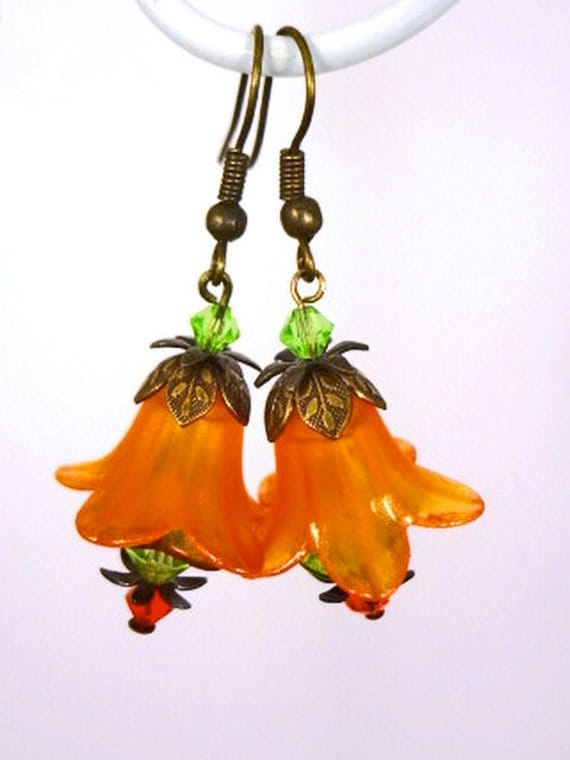 Orange Green Blossom - Lucite and Czech Glass Flower with Crystals Brass Earrings