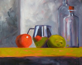 Oil Painting, Original Still LIfe, 12x12 on Canvas, Kitchen Art,  Bottles and Pitcher, Chrome and Fruit, Wall Decor, Tomato Lemon Lime Gray