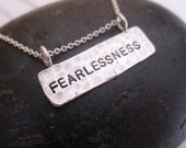 Hand stamped necklace serenity tag