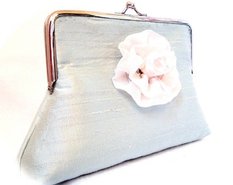 Turquoise and White Rose Pamela Clutch Purse Frame