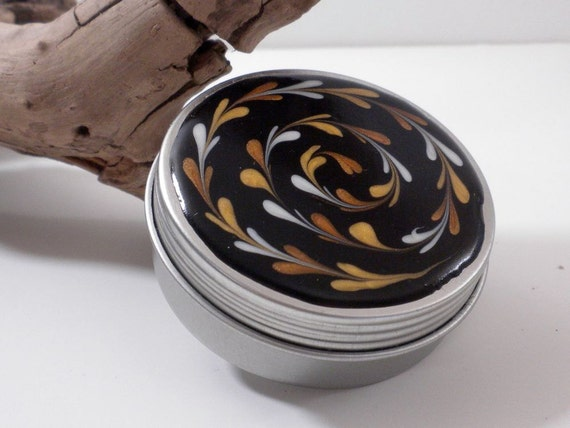 Large Treasure Box with Silver and Gold Swirl on Black - Feather Pattern Jewelry Box - Trinket Box - Pill Box - Handmade