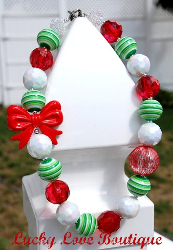 Girls Necklace Toddler, Tween Chunky Beaded Holiday, Christmas Bubblegum Necklace