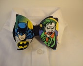 Bow tie made from Batman and Joker Fabric