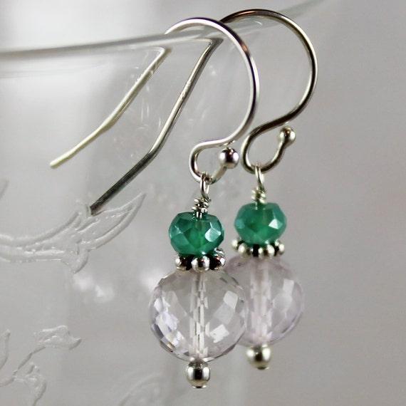 Rose Amethyst, Mystic Green Onyx Sterling Silver Earrings