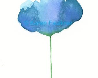 "Watercolor flower art print of an abstract blue flower:  ""Blue Skies"""